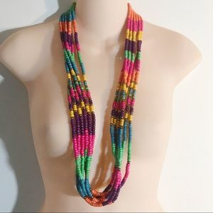 Multicolor Beaded Multistrand Necklace